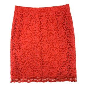 Elle Womens Skirt Lace Overlay Pencil Size 12